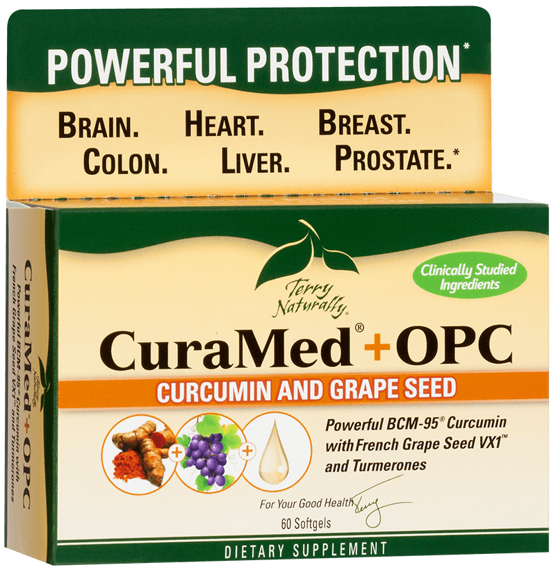 Award winning CuraMed has an additional ingredient, OPC grape seed extract to reduce oxidative damage and protect the cells from disease. OPC french grape seed extract (tannin-free) means superior absoption. An excellent anti-aging suppplement..