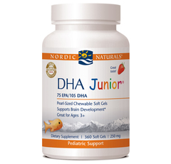 DHA Junior by Nordic Naturals is the perfect Omega-3 dietary supplement for children three years of age and up. Chewable softgels..