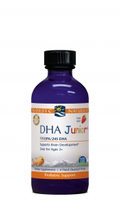 Flavored with a sweet strawberry taste especially for children, Nordic Natural DHA Junior Liquid helps to build strong bones and a healthy nervous system, supporting brain focus. Gluten Free.