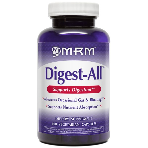 Digest-All from MRM contains enzymes derived from plant sources to help the body digest and assimilate proteins, starches, and sugars, and to help alleviate painful indigestion..
