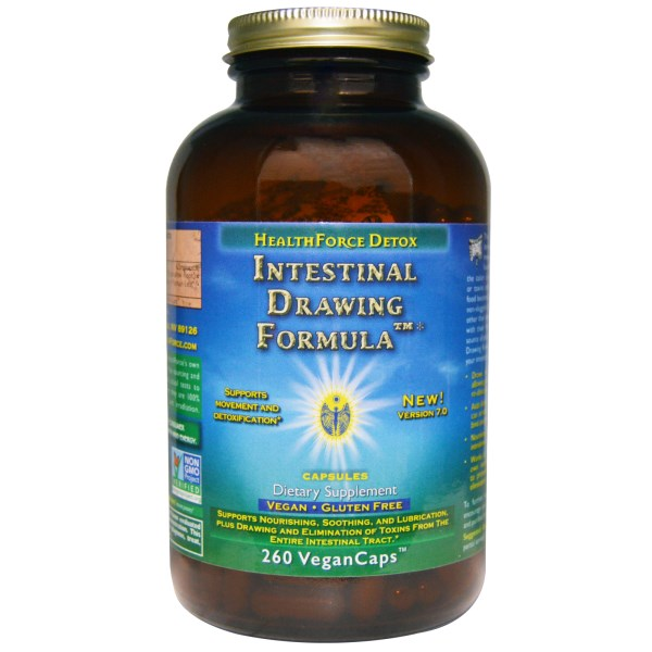 This superior formulation is designed to draw in and absorb poisons from the bowel, allowing you to eliminate them and not reabsorb them - essential to take during a fast to avoid auto intoxication. This new formula adds fibrous bulk without psyllium, which can irritate and cause bloating. HealthForce Intestinal Drawing Formula nourishes, soothes, and lubricates the intestines as it gradually moves through..