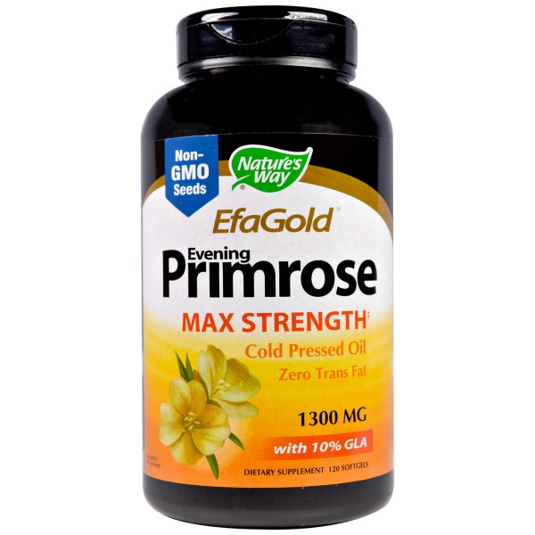 EFA Gold Evening Primrose Oil from Nature's Way contains 1300 mg of cold pressed oil from Evening Primrose seed, providing the body with essential fatty acids..