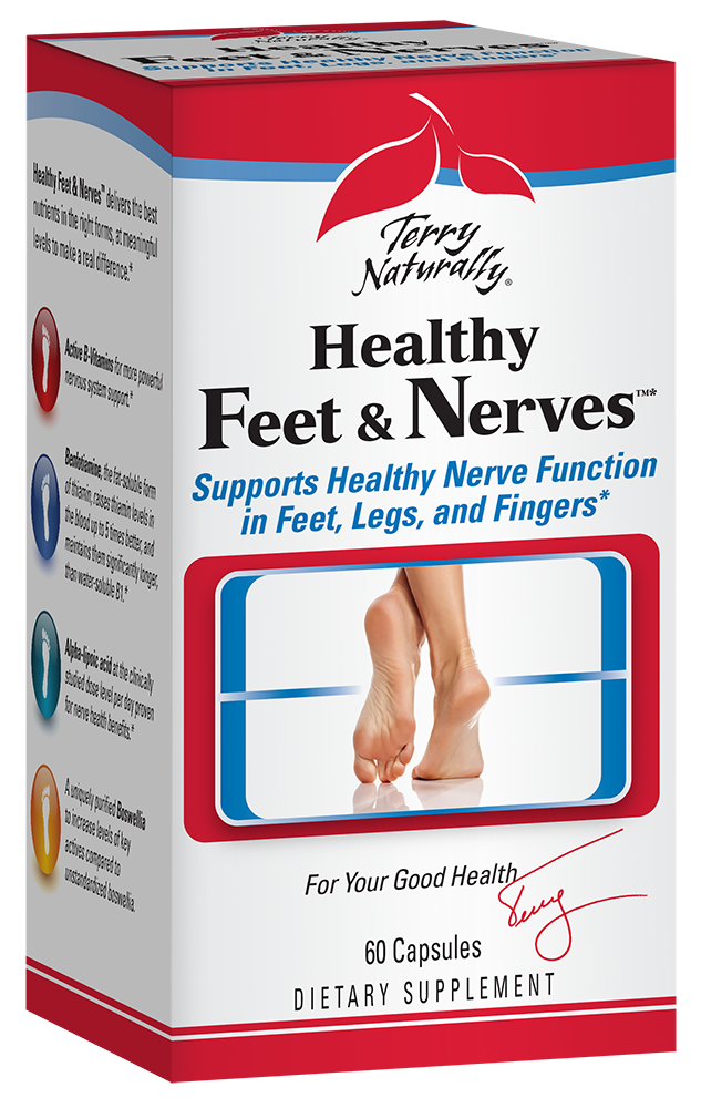 Do you suffer from Neuropathy? Terry Naturally Healthy Feet and Nerves aids proper blood circulation, supports healthy blood sugar metabolism. The ingredients in Healthy Feet and Nerves have been carefully selected for anyone who has concerns with healthy glucose metabolism and nerve function throughout the body, but especially in the feet..