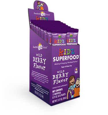 Blend Amazing Grass SuperFood with juice and provide a nutritious drink your kids will love. Rest assured your child is receiving the recommended daily requirement of fruits and vegetables. Delicious Berry flavor..