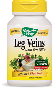 Nature's Way Premium Formula Leg Veins with Tru OPC is a product that helps promote healthy circulation in the legs, while reducing pain and the appearance of varicose veins..