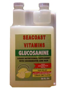 Why use glucosamine in a liquid form? The body does not need to break down a liquid extract, allowing the nutrients to be absorbed directly into our system. Liquid Glucosamine from SeaCoast Vitamins contains Chondroitin and MSM and has a high absorption rate, is an anti-inflammatory, and provides arthritis pain relief. Counter aging and stiff, creaky joints and improve joint mobility. Delicious taste. Buy Liquid Glucosamine formula at seacoastvitamins.com today..