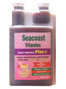Seacoast Vitamins Daily Multi Plus Liquid Multiple Vitamin comprises potent concentrations of Sea Vegetables, Ginseng and Ginkgo Biloba in a base of 100% Pure Aloe Vera Juice yielding high antioxidant activity and trace minerals..