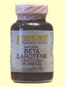 Seacoast Natural Foods Beta Carotene, Natural 25,000 IU contains 15 mg of D. salina algae providing 25,000 iu of natural pro-vitamin A activity..