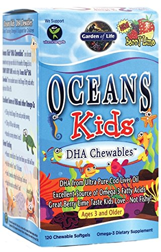 Oceans Kids DHA Chewables are a fun and convenient way to give your child all of the brain-boosting powers of Omega-3s in a YUMMY BERRY BLAST chewable softgel..