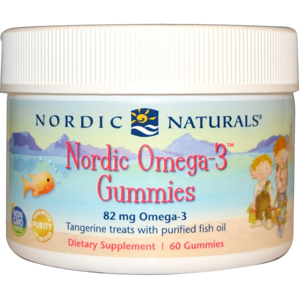 Omega-3 Gummies from Nordic Naturals deliver 273 mg of purified fish oil in a delicious tangerine flavor your child will love. Gluten, yeast and milk derivative free..