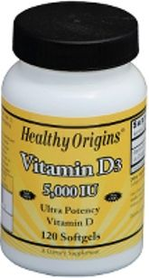 Vitamin D 5000 IU (120 Gels) Healthy Origins