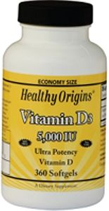 Vitamin D 5000 IU (360 Gels) Healthy Origins