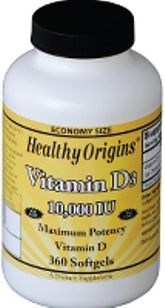 Vitamin D3 10000 IU (360 Gels) Healthy Origins