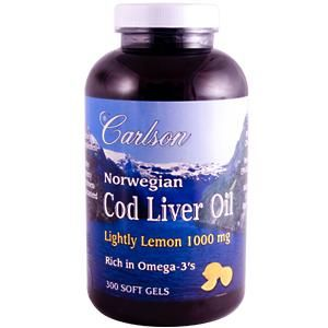 Lightly Lemon Norwegian Cod Liver Oil (1000 mg 300 soft gels)* Carlson Labs