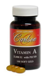 Vitamin A (25,000 IU) with Pectin (100 soft gels) Carlson Labs