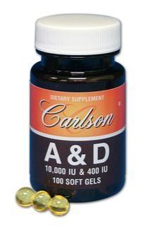 A & D Gelcaps (10,000 IU | 400 IU | 100 soft gels) Carlson Labs