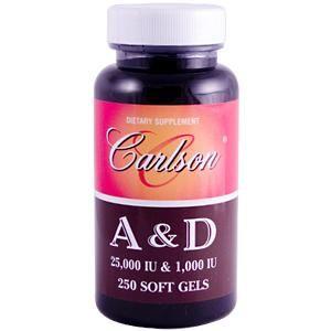 A & D (25,000 IU/ 1000 IU | 250 soft gels) Carlson Labs