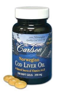 Norwegian Cod Liver Oil (100 soft gels) Carlson Labs