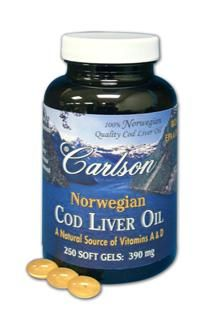 Norwegian Cod Liver Oil Capsules (250 soft gels) Carlson Labs