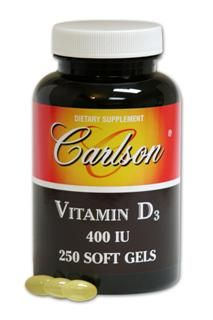 Vitamin D 400 IU Softgels (250 softgels) Carlson Labs