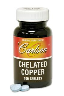 Chelated Copper  5mg (100 tablets) Carlson Labs