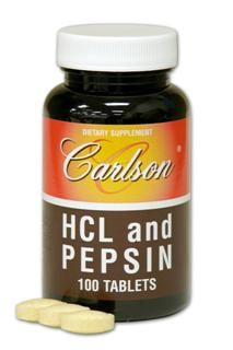 HCL & Pepsin  (100 tablets) Carlson Labs