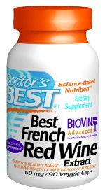 Best French Red Wine Extract (60mg 90 vegi capsules) Doctor's Best