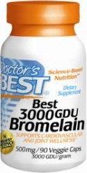 Best 3000 GDU Bromelain (90 vegetarian capsules) Doctor's Best