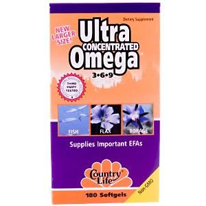 Ultra Concentrated Omega 3-6-9 (180 Softgel) Country Life