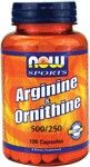 L-Arginine & Ornithine 500/250 mg (100 Caps) NOW Foods