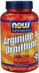 Arginine & Ornithine 500/250mg (250 Caps) NOW Foods