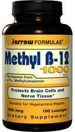 Methyl B12 Methylcobalamin 1000 mcg  (100 lozenges) Jarrow Formulas