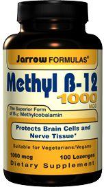 Methyl B12 Methylcobalamin 1000 mcg  (100 lozenges) Jarrow Formulas