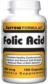 Folic Acid (800 mcg 100 capsules) Jarrow Formulas