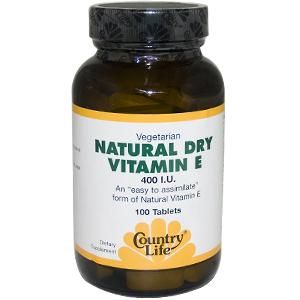 Natural Dry Vitamin E (400 I.U. 100 tablets) Country Life