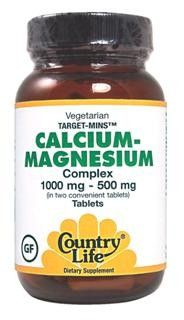 Target-Mins Calcium-Magnesium Complex (1000mg-500mg 180 tablets) Country Life