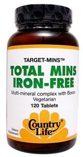Total Mins, Iron-Free (120 tablets) Country Life