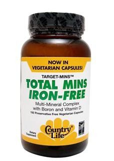 Total Mins Complex-Iron Free (150 vcaps) Country Life