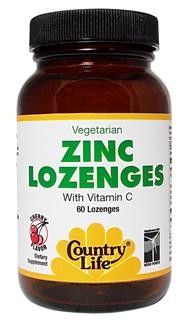 Zinc Lozenges with Vitamin C (Cherry - 60 tablets) Country Life