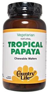 Natural Tropical Papaya (200 chewable wafers) Country Life
