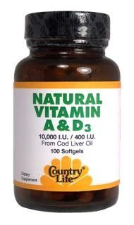 Natural Vitamin A & D3 (100 Softgel) Country Life