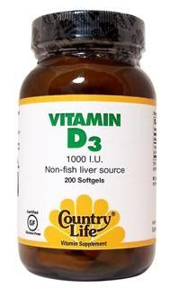 Vitamin D3, 1000 IU (200 Softgel) Country Life