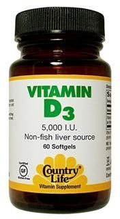Vitamin D3, 5000 IU(60 Softgel) Country Life
