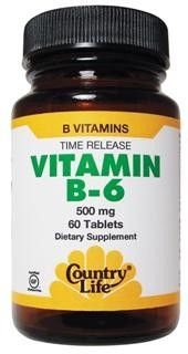 Vitamin B-6, Time Release (500 mg 60 Tablet) Country Life