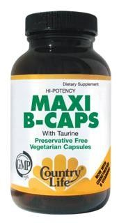 Maxi-B Caps with Taurine (100mg 90 Capsule - Veg) Country Life