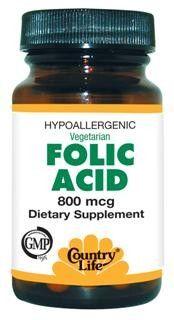 Folic Acid (800mcg 100 Tablet) Country Life