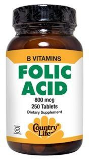 Folic Acid (800mcg 250 Tablet) Country Life