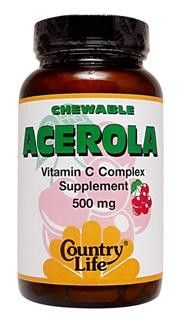Acerola, Chewable (500 mg 90 wafers) Country Life