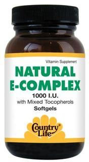 Natural E-Complex with Mixed Tocopherols (1000 IU 90 softgels) Country Life