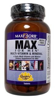 Max For Men Multiple Vitamin, Iron Free (120 tablet) Country Life